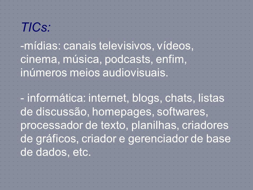 TICs: -mídias: canais televisivos, vídeos, cinema, música, podcasts, enfim, inúmeros meios audiovisuais. - informática: internet, blogs, chats, listas