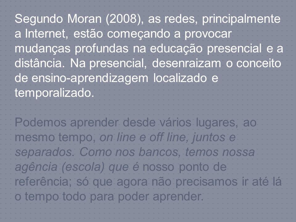 Segundo Moran (2008), as redes, principalmente a Internet, estão começando a provocar mudanças profundas na educação presencial e a distância. Na pres
