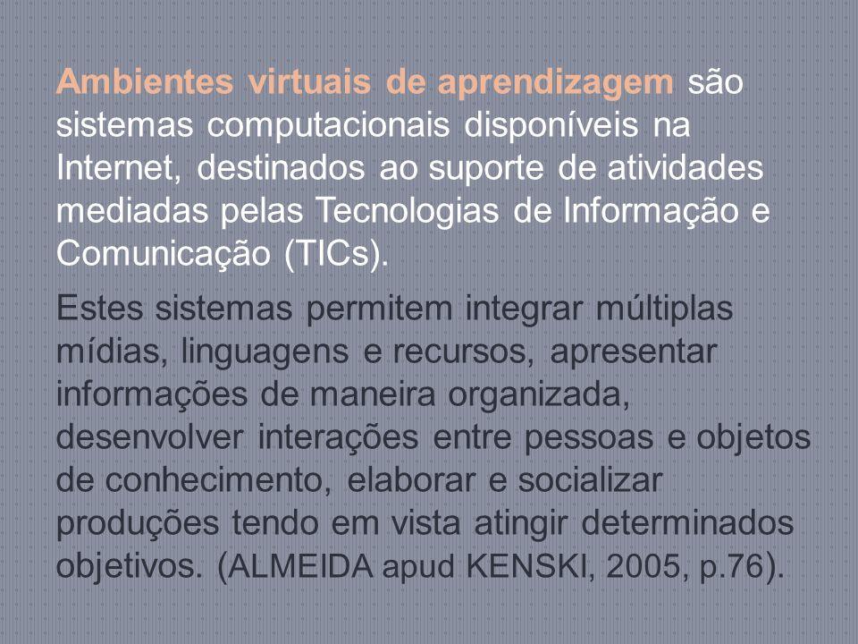 Ambientes virtuais de aprendizagem são sistemas computacionais disponíveis na Internet, destinados ao suporte de atividades mediadas pelas Tecnologias