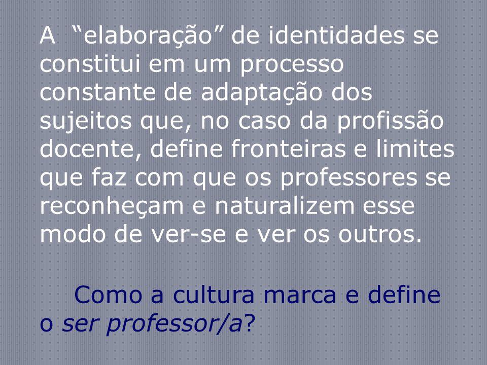 A elaboração de identidades se constitui em um processo constante de adaptação dos sujeitos que, no caso da profissão docente, define fronteiras e lim