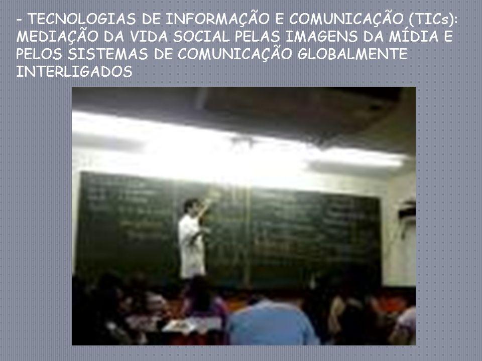 - TECNOLOGIAS DE INFORMAÇÃO E COMUNICAÇÃO (TICs): MEDIAÇÃO DA VIDA SOCIAL PELAS IMAGENS DA MÍDIA E PELOS SISTEMAS DE COMUNICAÇÃO GLOBALMENTE INTERLIGADOS