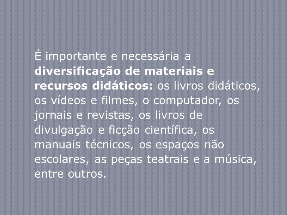 É importante e necessária a diversificação de materiais e recursos didáticos: os livros didáticos, os vídeos e filmes, o computador, os jornais e revi