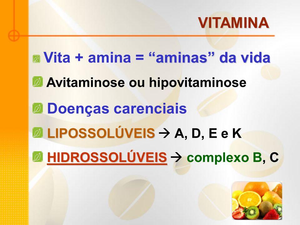 VITAMINA aminas da vida Vita + amina = aminas da vida Avitaminose ou hipovitaminose Doenças carenciais LIPOSSOLÚVEIS LIPOSSOLÚVEIS A, D, E e K HIDROSS