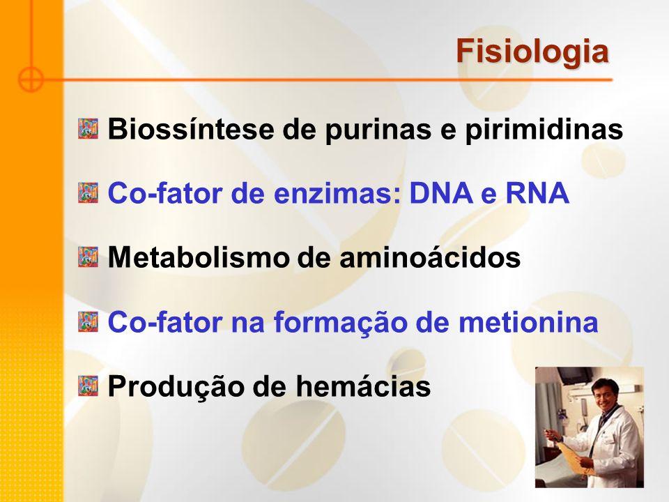 Fisiologia Biossíntese de purinas e pirimidinas Co-fator de enzimas: DNA e RNA Metabolismo de aminoácidos Co-fator na formação de metionina Produção d
