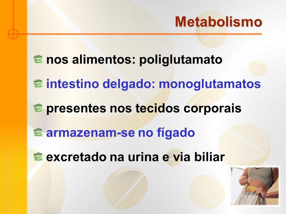 Metabolismo nos alimentos: poliglutamato intestino delgado: monoglutamatos presentes nos tecidos corporais armazenam-se no fígado excretado na urina e