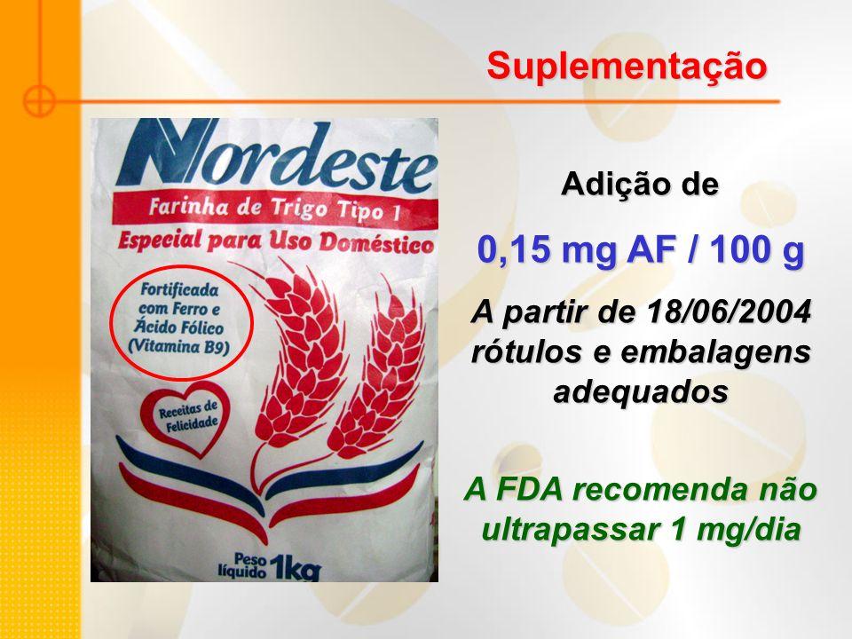 Suplementação Adição de 0,15 mg AF / 100 g A partir de 18/06/2004 rótulos e embalagens adequados A FDA recomenda não ultrapassar 1 mg/dia