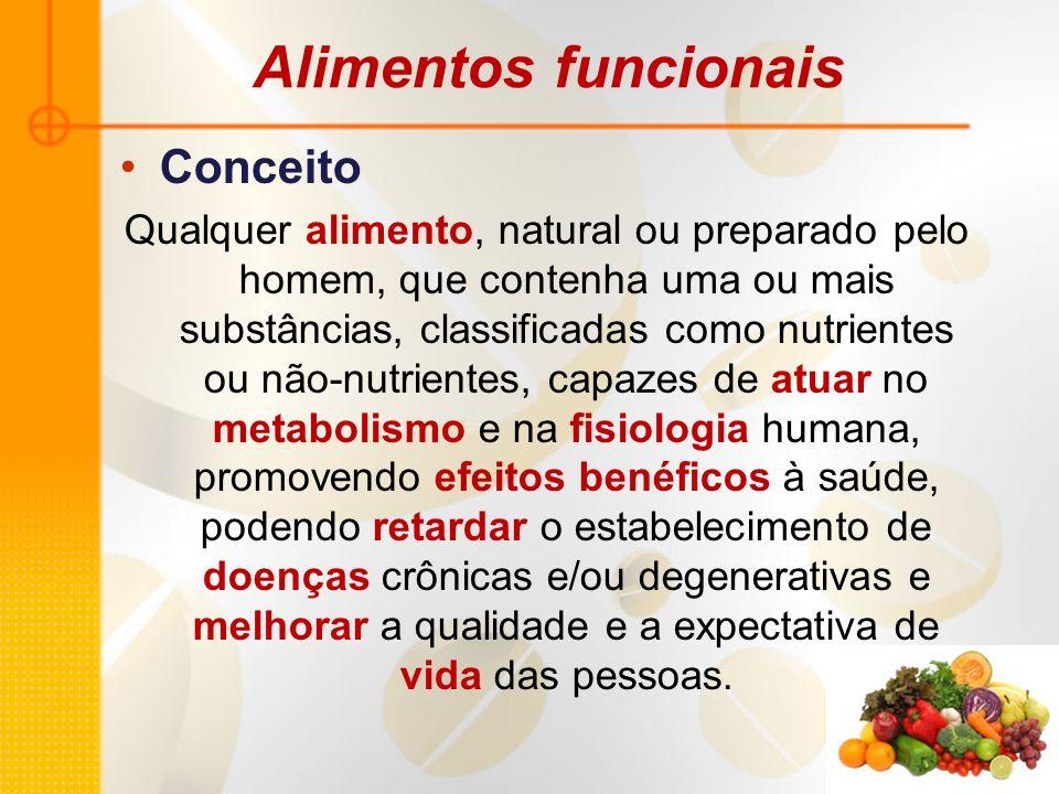 Alimentos funcionais Conceito Qualquer alimento, natural ou preparado pelo homem, que contenha uma ou mais substâncias, classificadas como nutrientes