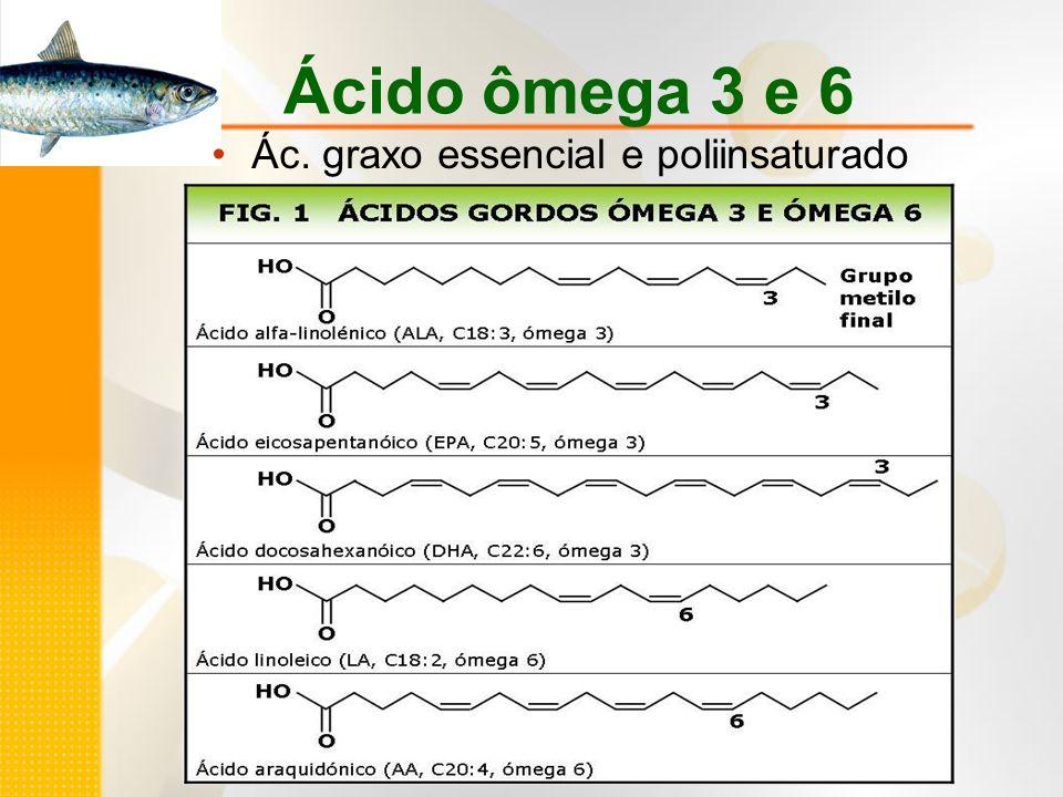 Ácido ômega 3 e 6 Ác. graxo essencial e poliinsaturado