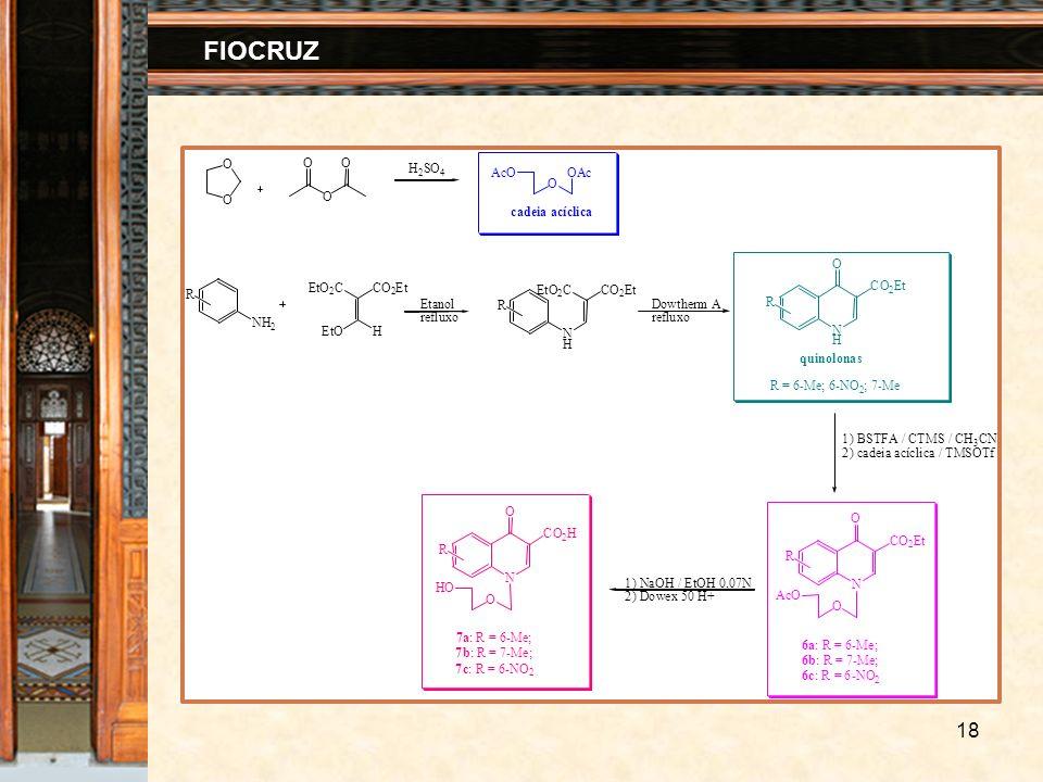 18 FIOCRUZ NH 2 EtO 2 C HEtO CO 2 Et N H EtO 2 CCO 2 Et N H O CO 2 Et Etanol refluxo Dowtherm A refluxo 1) BSTFA / CTMS / CH 3 CN 2) cadeia acíclica /