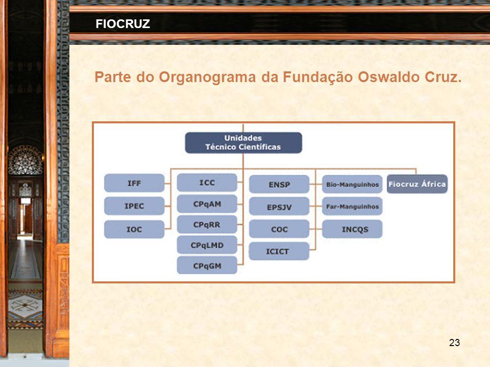 23 FIOCRUZ Parte do Organograma da Fundação Oswaldo Cruz.