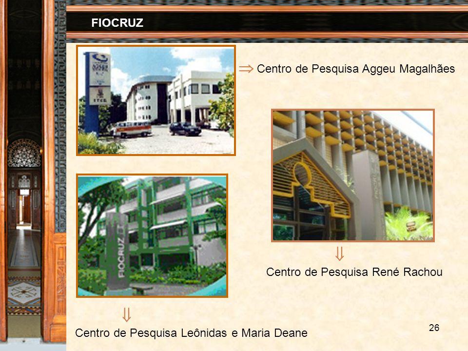 26 FIOCRUZ Centro de Pesquisa Aggeu Magalhães Centro de Pesquisa René Rachou Centro de Pesquisa Leônidas e Maria Deane