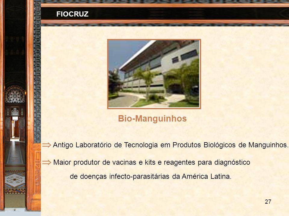 27 FIOCRUZ Bio-Manguinhos Antigo Laboratório de Tecnologia em Produtos Biológicos de Manguinhos. Maior produtor de vacinas e kits e reagentes para dia