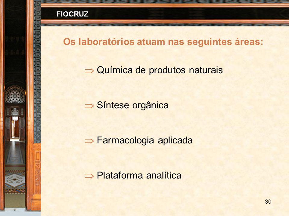30 FIOCRUZ Os laboratórios atuam nas seguintes áreas: Química de produtos naturais Síntese orgânica Farmacologia aplicada Plataforma analítica