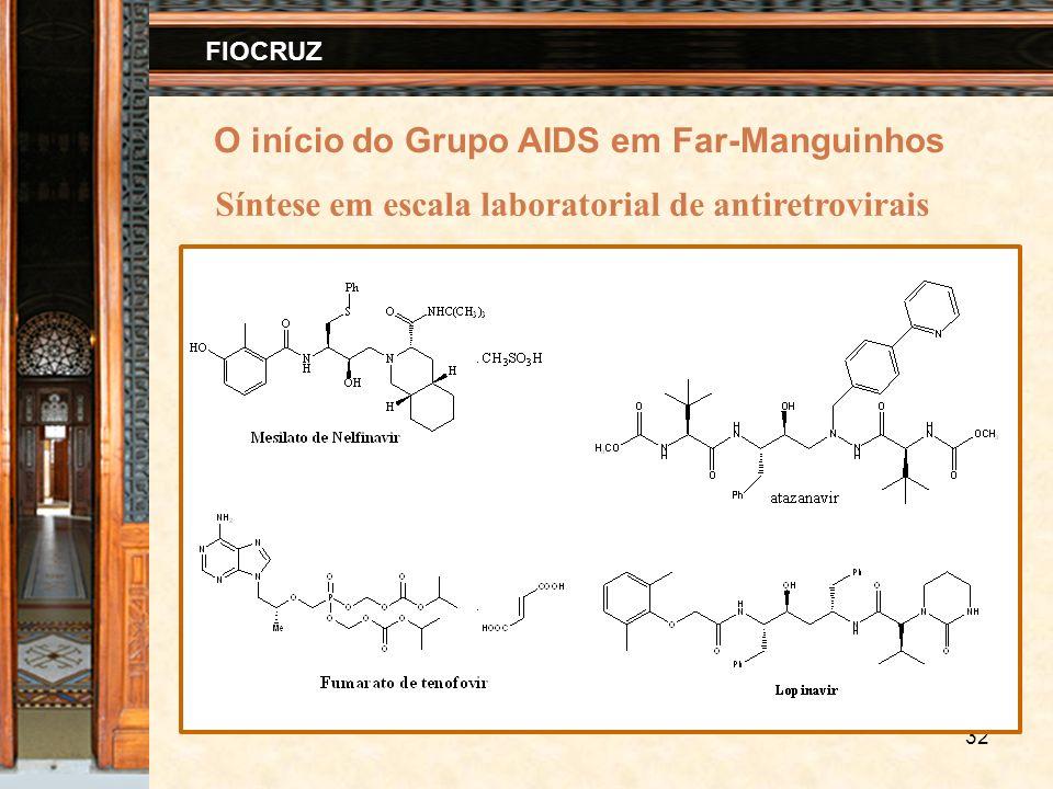 32 FIOCRUZ Síntese em escala laboratorial de antiretrovirais O início do Grupo AIDS em Far-Manguinhos