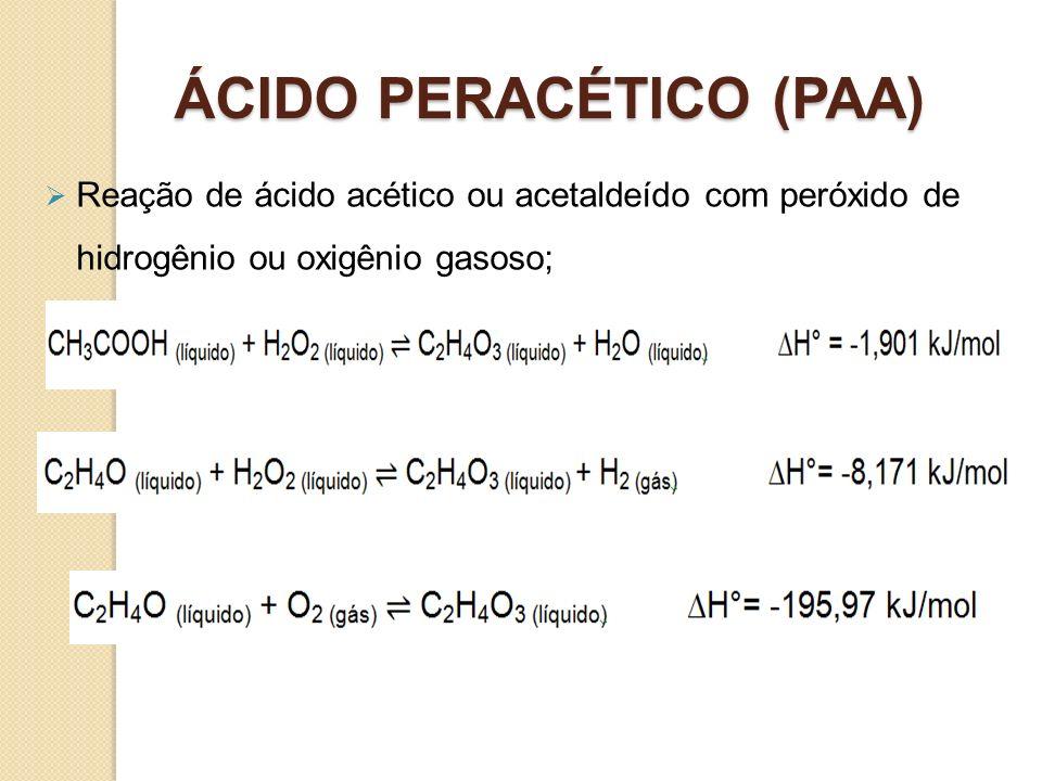 ÁCIDO PERACÉTICO (PAA) Reação de ácido acético ou acetaldeído com peróxido de hidrogênio ou oxigênio gasoso;