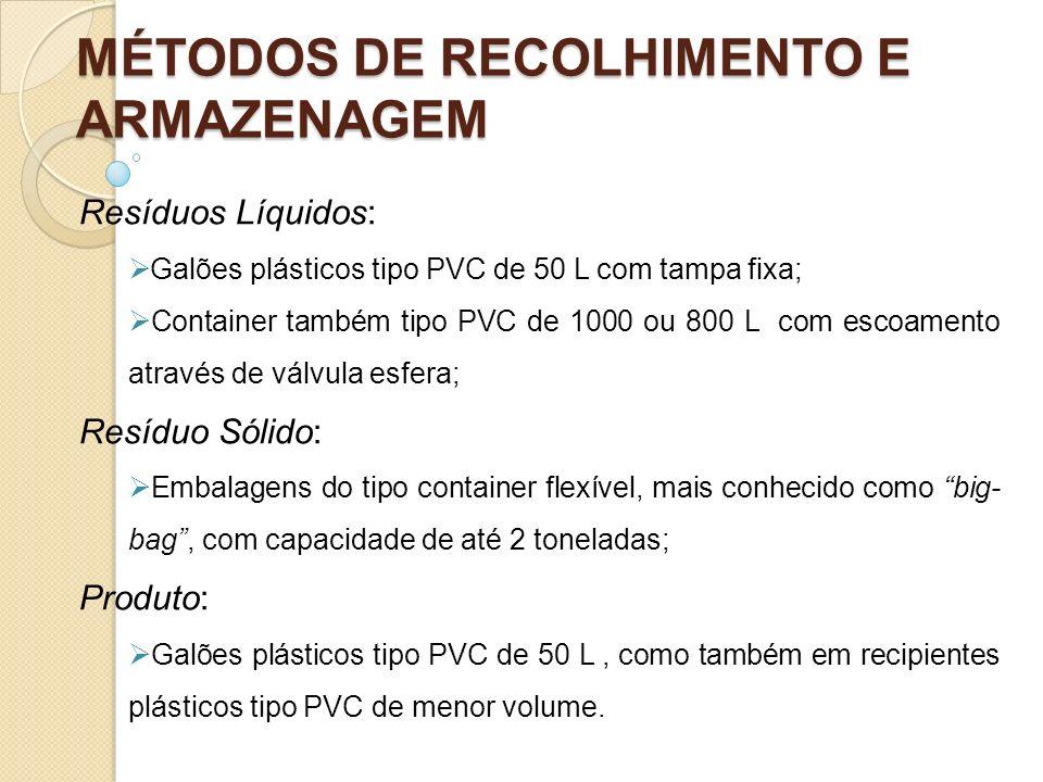 MÉTODOS DE RECOLHIMENTO E ARMAZENAGEM Resíduos Líquidos: Galões plásticos tipo PVC de 50 L com tampa fixa; Container também tipo PVC de 1000 ou 800 L