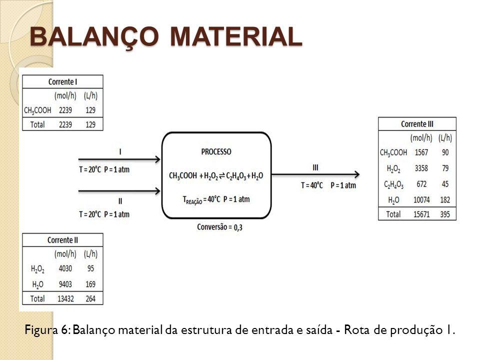 BALANÇO MATERIAL Figura 6: Balanço material da estrutura de entrada e saída - Rota de produção 1.