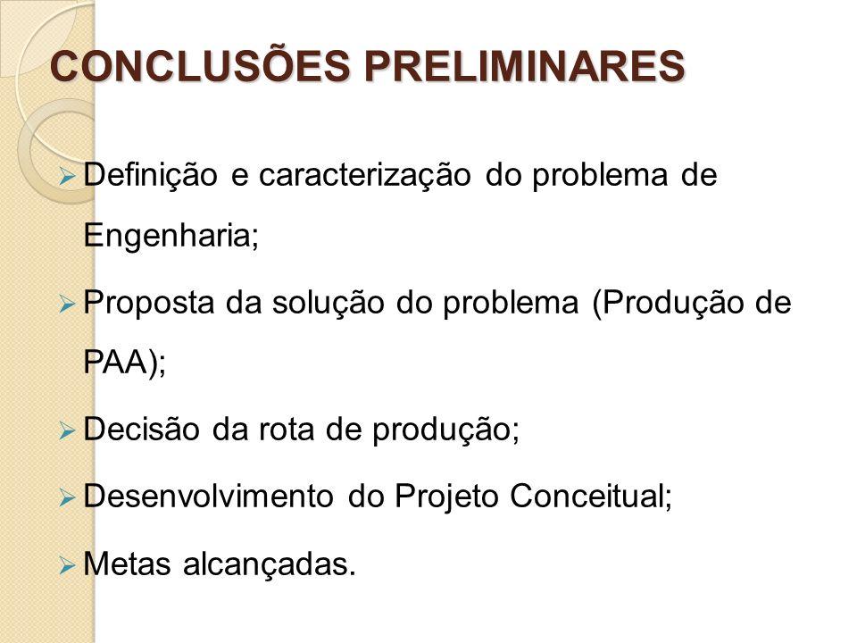 CONCLUSÕES PRELIMINARES Definição e caracterização do problema de Engenharia; Proposta da solução do problema (Produção de PAA); Decisão da rota de pr