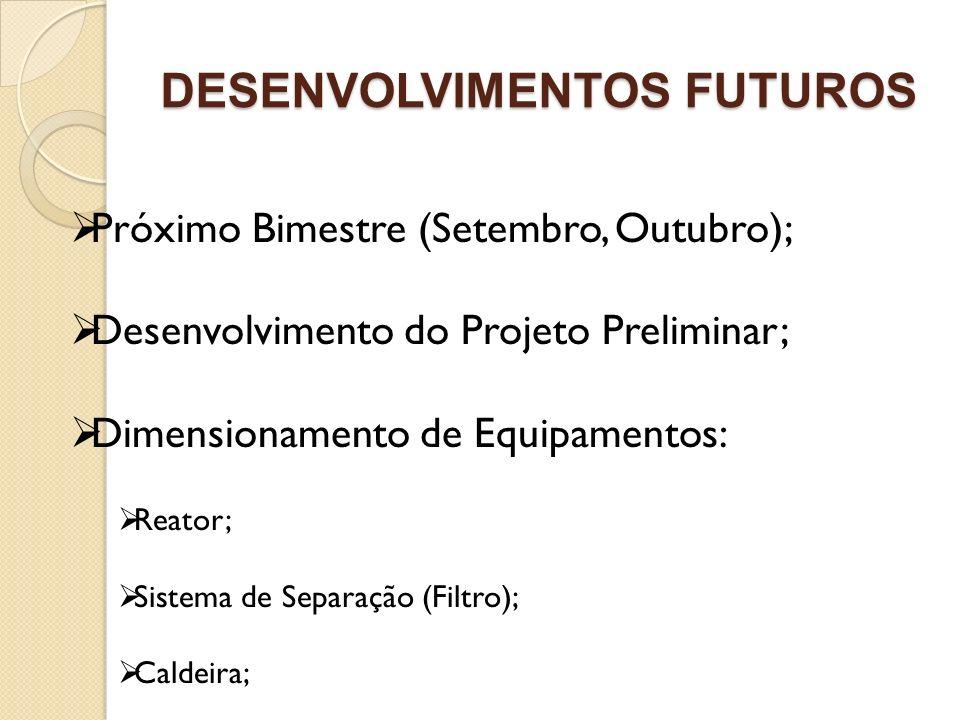 DESENVOLVIMENTOS FUTUROS Próximo Bimestre (Setembro, Outubro); Desenvolvimento do Projeto Preliminar; Dimensionamento de Equipamentos: Reator; Sistema