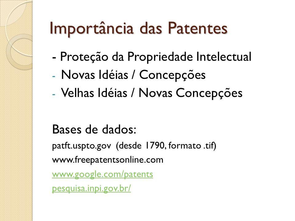 Importância das Patentes - Proteção da Propriedade Intelectual - Novas Idéias / Concepções - Velhas Idéias / Novas Concepções Bases de dados: patft.us