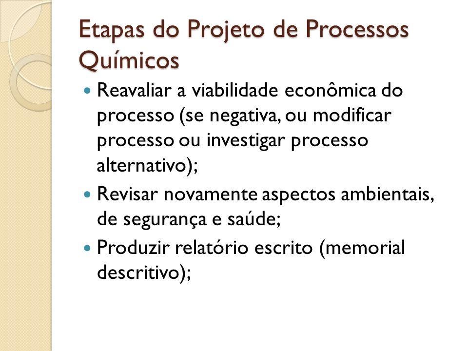 Reavaliar a viabilidade econômica do processo (se negativa, ou modificar processo ou investigar processo alternativo); Revisar novamente aspectos ambi