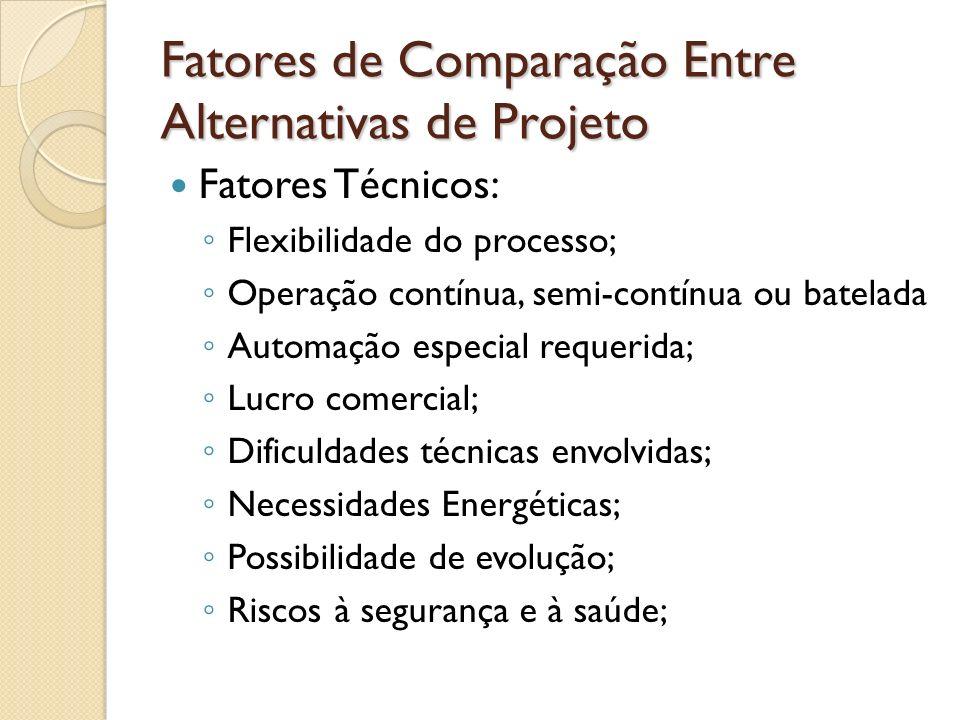 Fatores de Comparação Entre Alternativas de Projeto Fatores Técnicos: Flexibilidade do processo; Operação contínua, semi-contínua ou batelada Automaçã