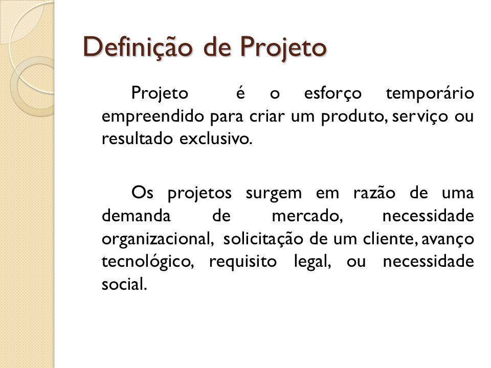 Características dos Projetos - são temporários; - são planejados, executados e controlados; - entregam produtos, serviços ou resultados; - são desenvolvidos em etapas; - têm elaboração progressiva; - são realizados por pessoas; - apresentam recursos limitados.