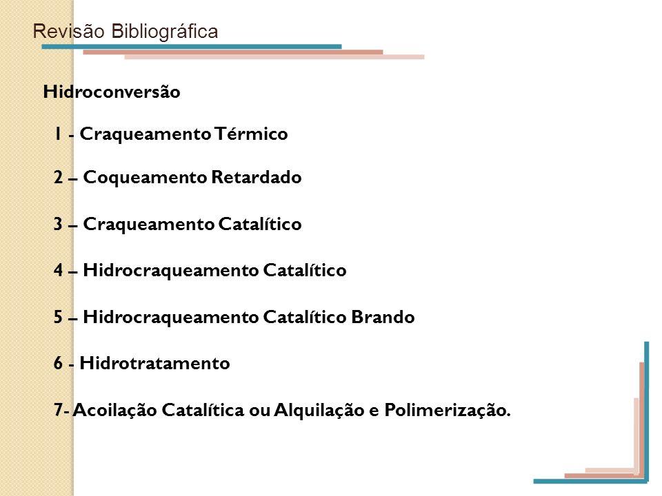 Revisão Bibliográfica Hidroconversão 1 - Craqueamento Térmico 2 – Coqueamento Retardado 3 – Craqueamento Catalítico 4 – Hidrocraqueamento Catalítico 5