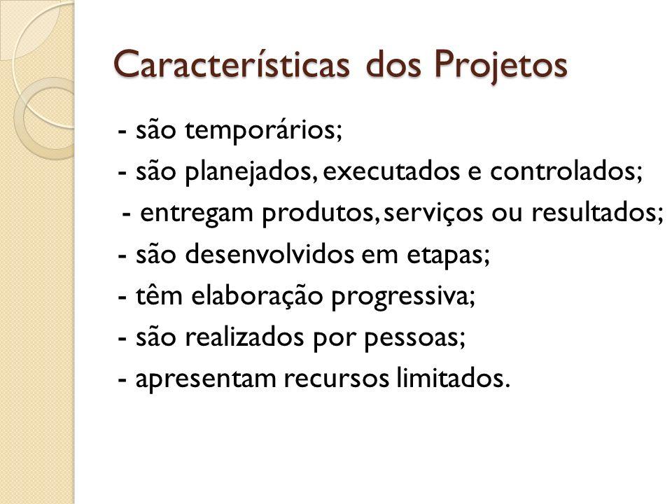 Características dos Projetos - são temporários; - são planejados, executados e controlados; - entregam produtos, serviços ou resultados; - são desenvo