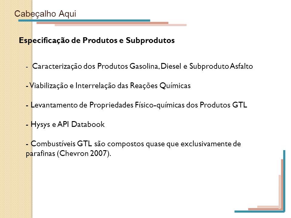 Cabeçalho Aqui Especificação de Produtos e Subprodutos - Caracterização dos Produtos Gasolina, Diesel e Subproduto Asfalto - Viabilização e Interrelaç