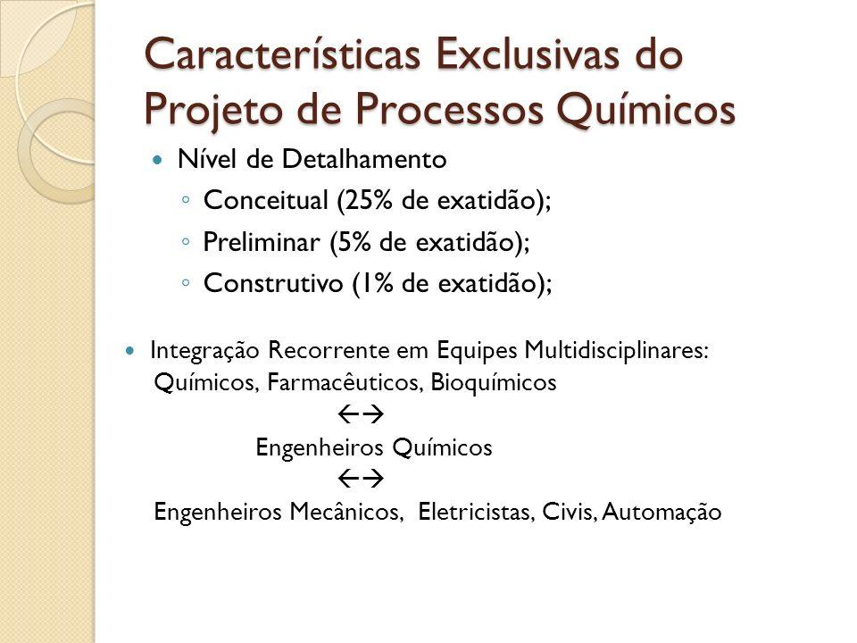 Características Exclusivas do Projeto de Processos Químicos Nível de Detalhamento Conceitual (25% de exatidão); Preliminar (5% de exatidão); Construti
