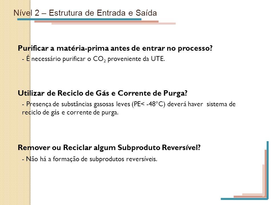 Nível 2 – Estrutura de Entrada e Saída Purificar a matéria-prima antes de entrar no processo? - É necessário purificar o CO 2 proveniente da UTE. Util