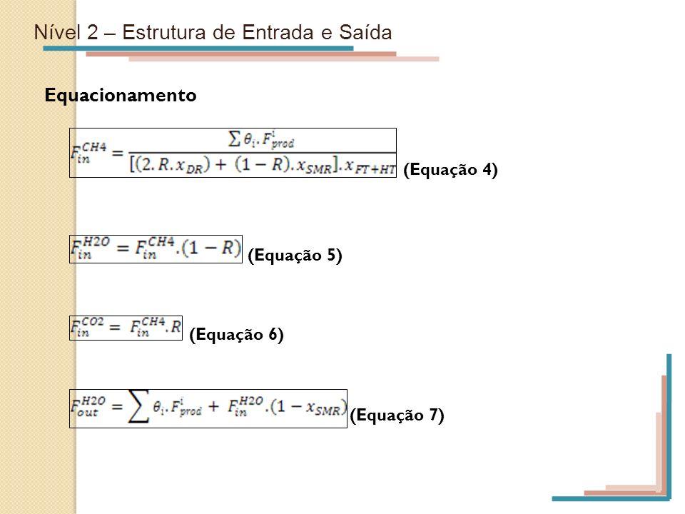 Nível 2 – Estrutura de Entrada e Saída Equacionamento (Equação 4) (Equação 5) (Equação 6) (Equação 7)