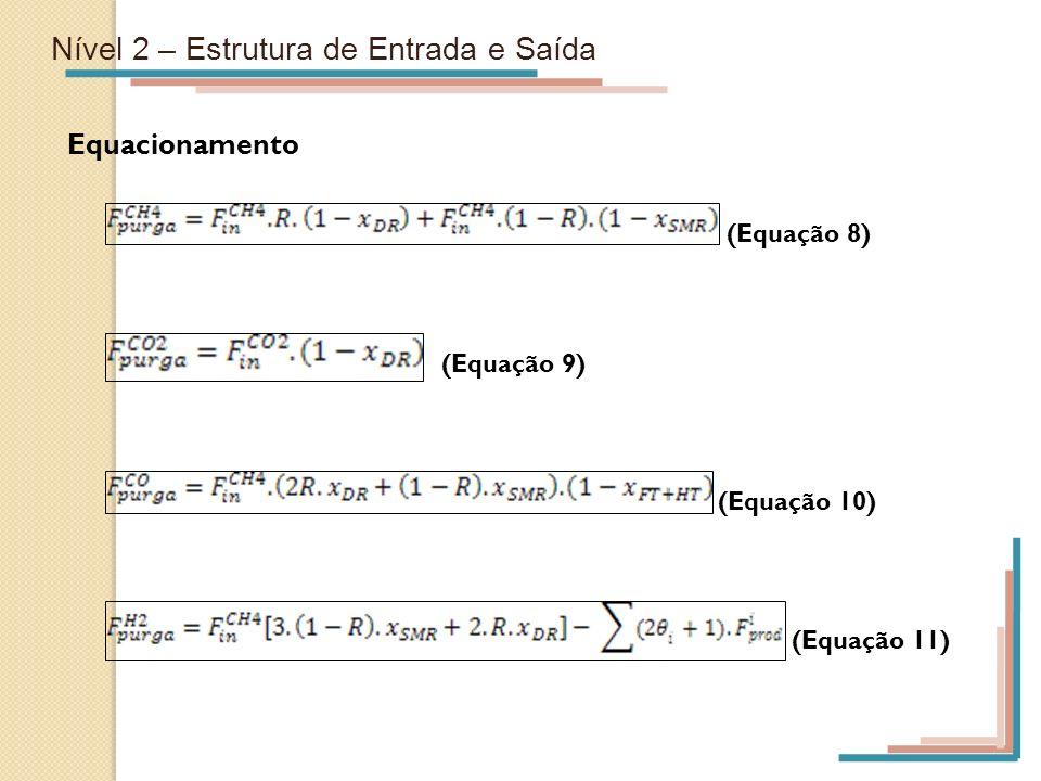 Nível 2 – Estrutura de Entrada e Saída Equacionamento (Equação 8) (Equação 9) (Equação 10) (Equação 11)