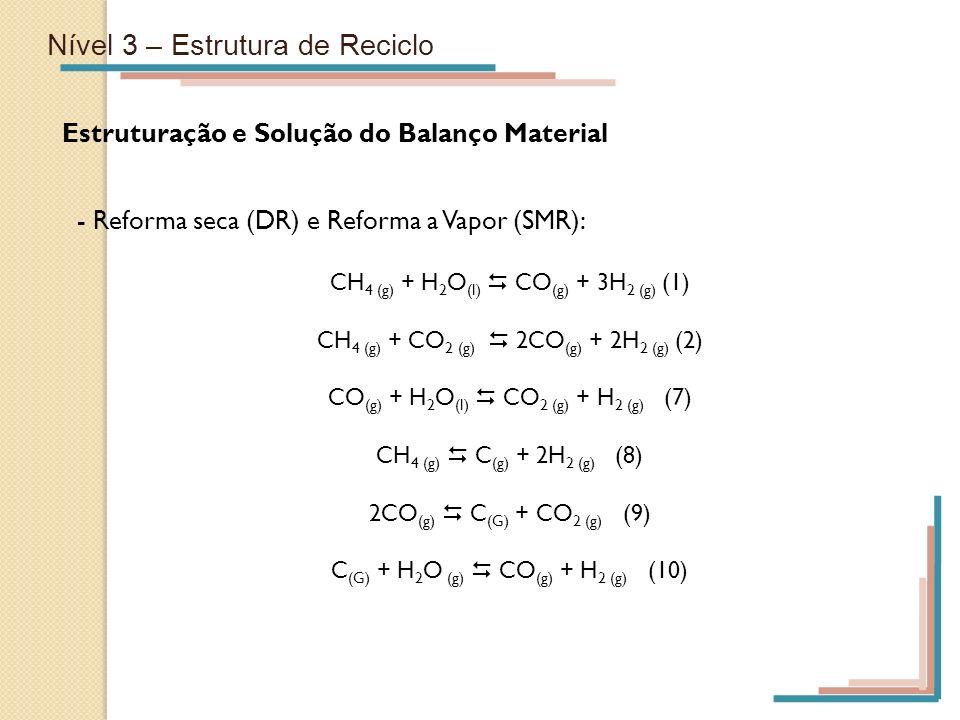 Nível 3 – Estrutura de Reciclo Estruturação e Solução do Balanço Material - Reforma seca (DR) e Reforma a Vapor (SMR): CH 4 (g) + H 2 O (l) CO (g) + 3