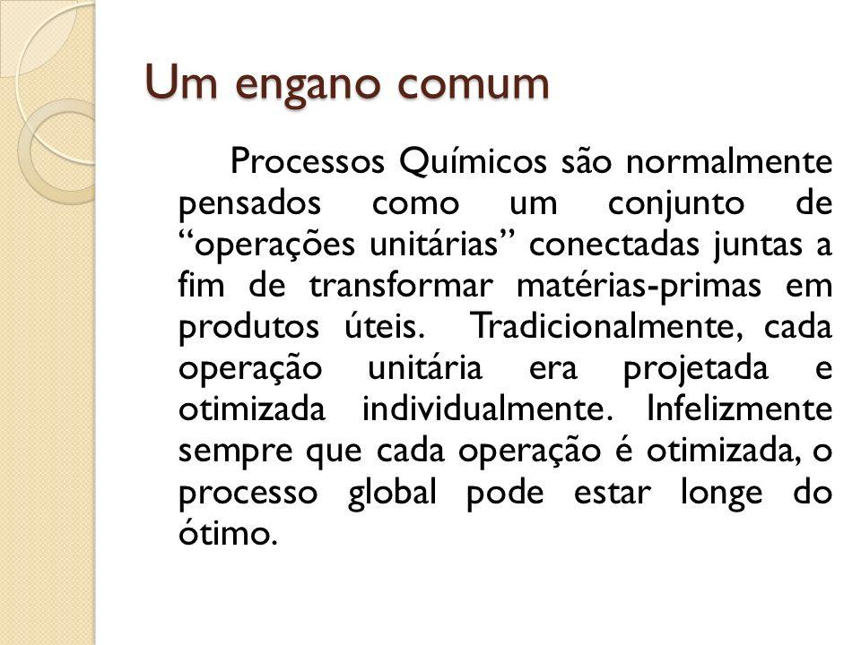 Um engano comum Processos Químicos são normalmente pensados como um conjunto de operações unitárias conectadas juntas a fim de transformar matérias-pr