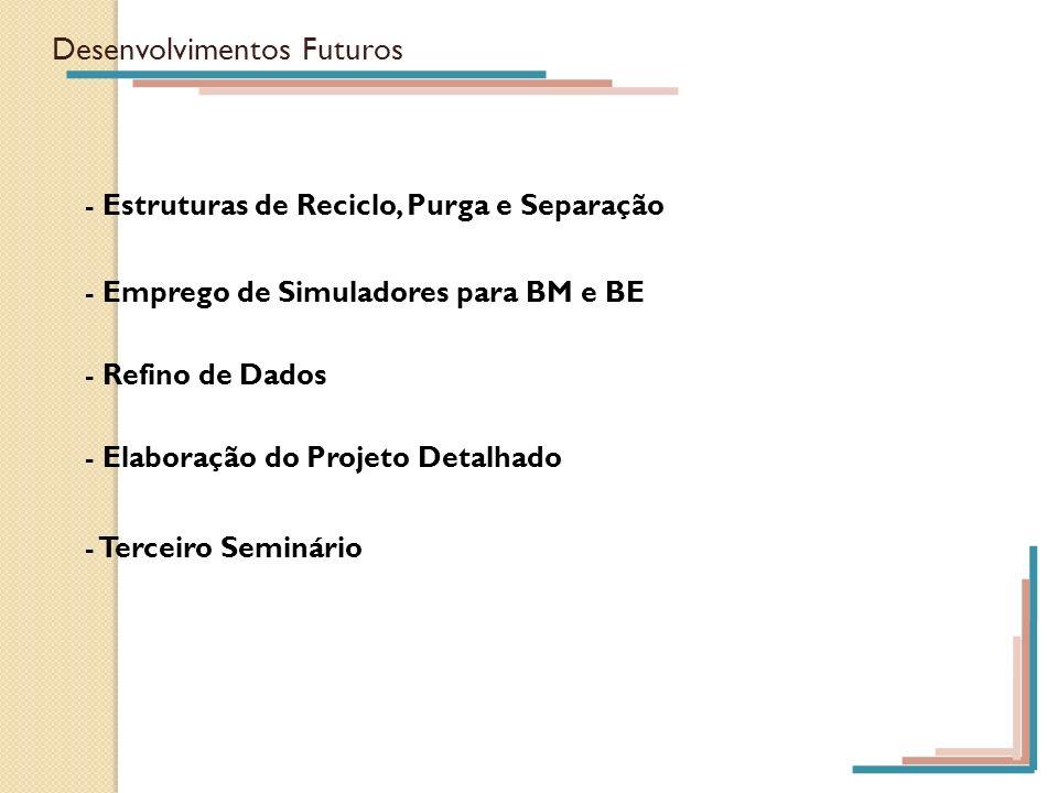 Desenvolvimentos Futuros - Estruturas de Reciclo, Purga e Separação - Emprego de Simuladores para BM e BE - Refino de Dados - Elaboração do Projeto De
