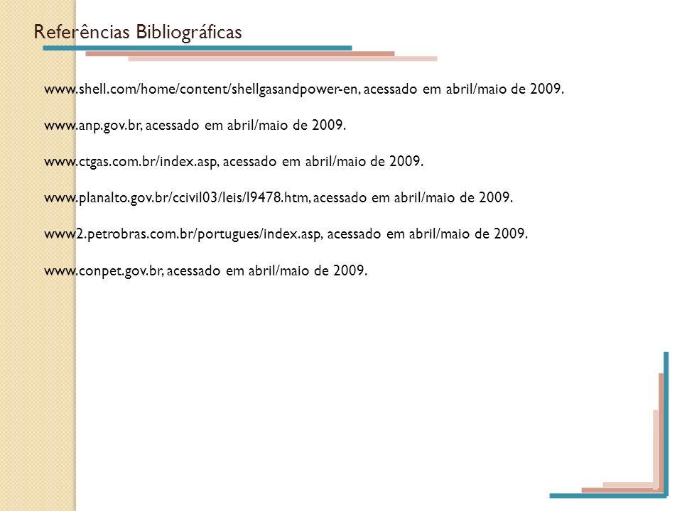 Referências Bibliográficas www.shell.com/home/content/shellgasandpower-en, acessado em abril/maio de 2009. www.anp.gov.br, acessado em abril/maio de 2