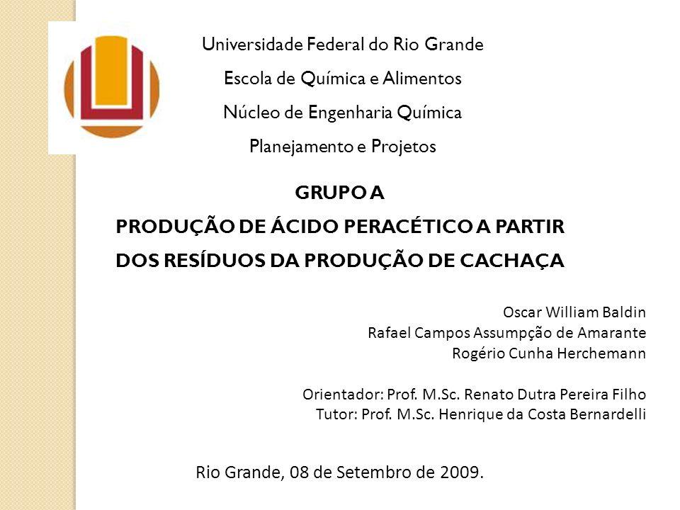 Universidade Federal do Rio Grande Escola de Química e Alimentos Núcleo de Engenharia Química Planejamento e Projetos GRUPO A PRODUÇÃO DE ÁCIDO PERACÉ