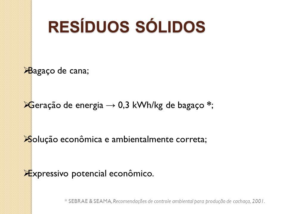 RESÍDUOS SÓLIDOS Bagaço de cana; Geração de energia 0,3 kWh/kg de bagaço *; Solução econômica e ambientalmente correta; Expressivo potencial econômico
