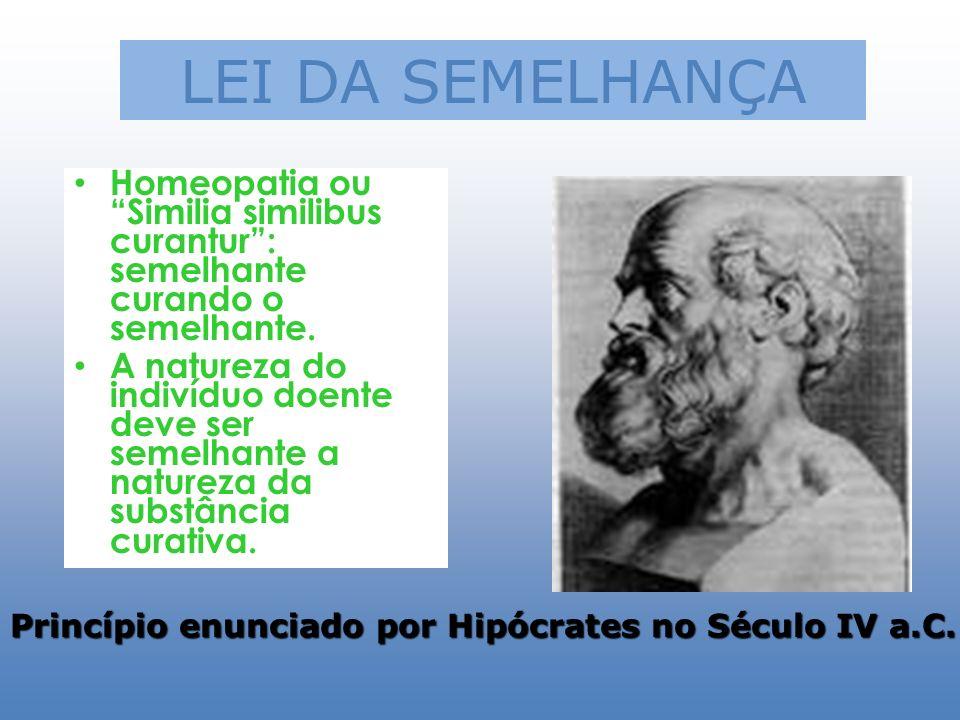 LEI DA SEMELHANÇA Homeopatia ou Similia similibus curantur: semelhante curando o semelhante. A natureza do indivíduo doente deve ser semelhante a natu