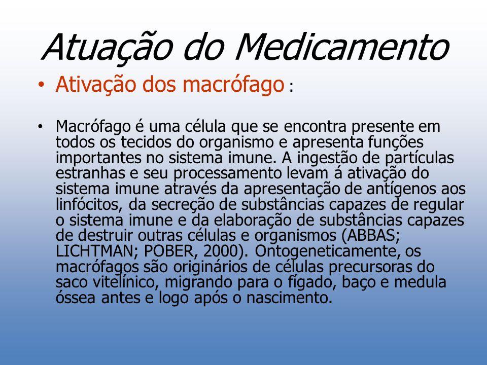 Atuação do Medicamento Ativação dos macrófago : Macrófago é uma célula que se encontra presente em todos os tecidos do organismo e apresenta funções i