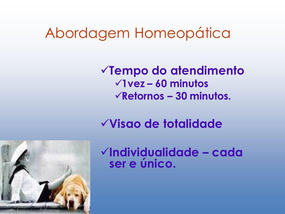 Abordagem Homeopática Tempo do atendimento 1vez – 60 minutos Retornos – 30 minutos. Visao de totalidade Individualidade – cada ser e único.
