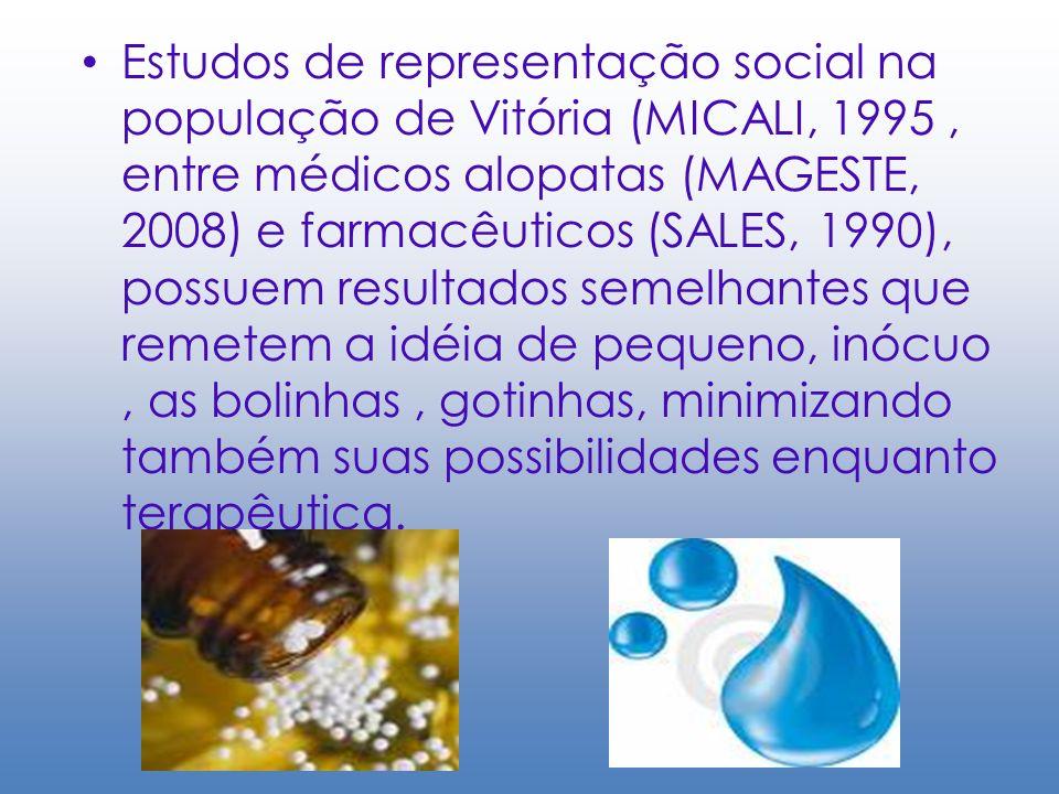 Estudos de representação social na população de Vitória (MICALI, 1995, entre médicos alopatas (MAGESTE, 2008) e farmacêuticos (SALES, 1990), possuem r