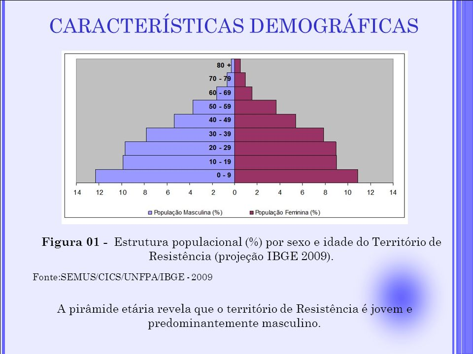 CARACTERÍSTICAS DEMOGRÁFICAS Figura 01 - Estrutura populacional (%) por sexo e idade do Território de Resistência (projeção IBGE 2009). Fonte:SEMUS/CI