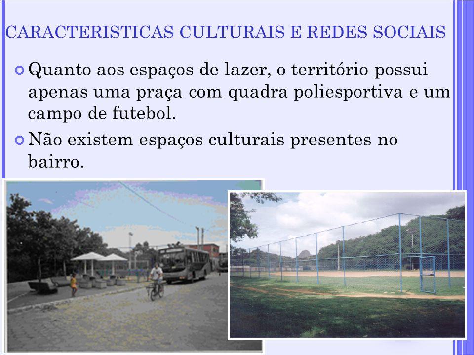 Quanto aos espaços de lazer, o território possui apenas uma praça com quadra poliesportiva e um campo de futebol. Não existem espaços culturais presen