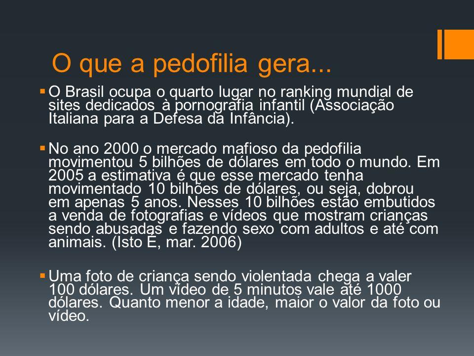 O que a pedofilia gera... O Brasil ocupa o quarto lugar no ranking mundial de sites dedicados à pornografia infantil (Associação Italiana para a Defes