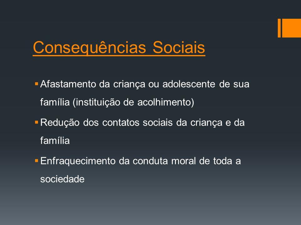 Consequências Sociais Afastamento da criança ou adolescente de sua família (instituição de acolhimento) Redução dos contatos sociais da criança e da f