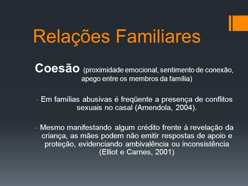 Relações Familiares Coesão (proximidade emocional, sentimento de conexão, apego entre os membros da família) -Em famílias abusivas é freqüente a prese