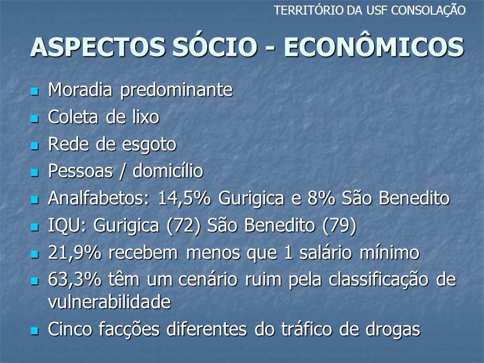 ASPECTOS SÓCIO - ECONÔMICOS TERRITÓRIO DA USF CONSOLAÇÃO Moradia predominante Moradia predominante Coleta de lixo Coleta de lixo Rede de esgoto Rede d